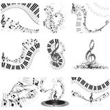 Musical notes staff set Stock Photography