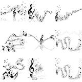 Musical notes staff set Stock Images