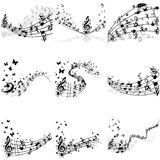 Musical notes staff set Royalty Free Stock Photos