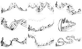 Musical notes staff set Royalty Free Stock Image