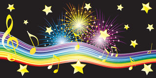 Musical notes, stars and fireworks. Stock Image