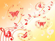 Musical notes on stave with hearts and butterflies. Various musical notes with hearts on stave and butterflies flying along, hand drawing Valentine vector Royalty Free Stock Photos