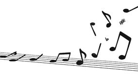 Musical Notes Lifting off Staff stock illustration