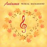 Musical notes and a treble clef on a background of maple leaves. In the form of heart Royalty Free Stock Photos