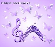 Musical notes on a background of purple butterflies royalty free illustration