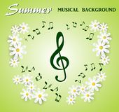 Musical notes and treble clef on a background of white flowers. Musical notes and treble clef on a  green background of white flowers Royalty Free Stock Photography