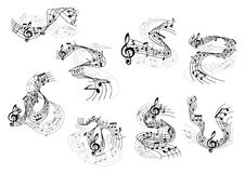 Musical notes and treble clefs on wavy staves Stock Image