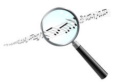 Musical Notes Under Magnifying Glass Royalty Free Stock Photos