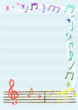 Musical notes vector in notebook or frame, border Stock Photography