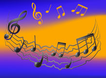 Musical notes on vibrating staff and colorfull background Royalty Free Stock Photos