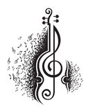 Musical notes and violin Royalty Free Stock Images