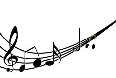 Musical notes on white. Vector illustration. Musical notes staff background on white. Vector illustration Stock Photo