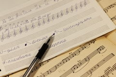 Musical notes. Written notes in the music book. soft focus Royalty Free Stock Images