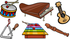 Musical objects cartoon illustration set Stock Photos