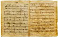 Musical old notes page Stock Photo