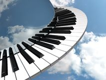 Musical orbit. Round music keyboard (rendered illustration Stock Photos