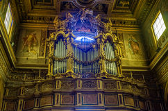 Musical organ in the Church of the Mamertine prison near the Roman Forum in Italy Stock Photo