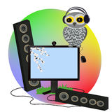 Musical owl party. Royalty Free Stock Image