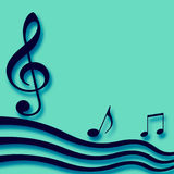 Musical paper blank. Blue 3d music notes on blank teal note paper Stock Photo