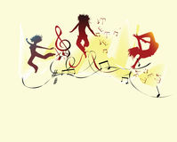 Musical Party. Music that makes young people happy dance Stock Photos