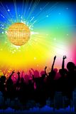 Musical Party. Illustration of musical background with cheering crowd in disco night Stock Photography