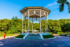 Musical pavilion in Moscow Gorky park. One can play the white pi Royalty Free Stock Image