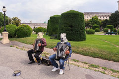 Musical performance near the Museum of Fine Arts. Royalty Free Stock Photo