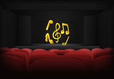 Musical performance on the stage in theater interior vector Stock Photo