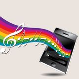 Musical Phone Background. An illustrated background of a touchscreen phone, with music coming out of it on a colorful rainbow pattern Stock Image