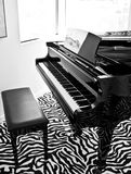 Musical piano. A close up image of a nice grand piano sitting in the living room ready for the next musical performance. Living room with leapord print carpet Stock Photo