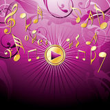 Musical pink bacground. Musical theme with play button,  illustration Royalty Free Stock Photography