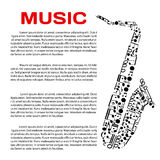 Musical poster with notes in a shape of saxophone Royalty Free Stock Images