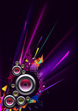 Musical poster for party. Abstract composition with a speaker and color details Stock Image