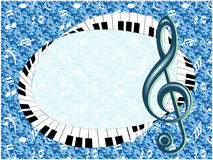 Musical poster with treble clef and fingerboard Royalty Free Stock Images