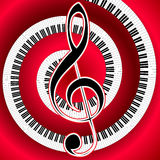 Musical poster with treble clef Royalty Free Stock Photo