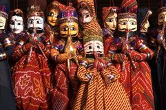 Musical Puppets for Sale. Group of colouful puppets for sale in Jaipur, Rajasthan, India stock image