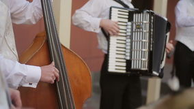 Musical quartet playing. stock video footage