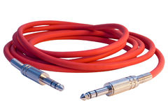Musical red cord with two jacks Royalty Free Stock Photography