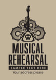 Musical rehearsal. Poster for a musical rehearsal with loudspeakers and guitar Royalty Free Stock Photo