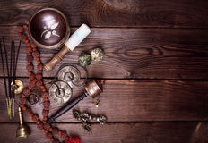 Musical religious instruments for Buddhist practices royalty free stock photo