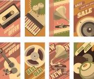Musical retro cards Stock Photos