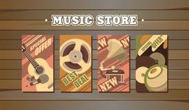 Musical retro cards Stock Photo