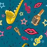 Musical retro pattern. Seamless pattern with saxophone, lips singing to the microphone and notes Stock Photos