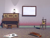 Musical room - 3D render Royalty Free Stock Photos