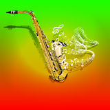 Musical saxophone and waves of  notes. Vector illustration of musical background Saxophone and waves of musical notes on a colored textural background. You can Royalty Free Stock Images
