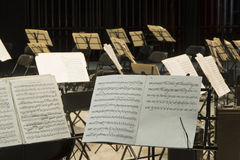 Musical score. In a concert hall stock photo