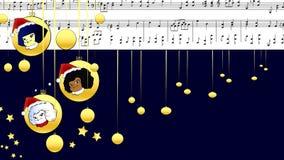 Musical Score Merry Christmas whit children stock video