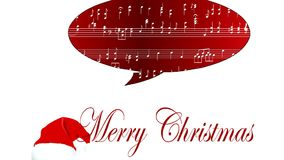 Musical Score Merry Christmas whit  Santa Hat stock footage