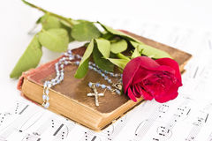 Musical score, and Rose stock image
