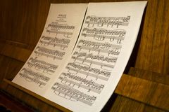 Musical Score - Sonata. On the piano stock image